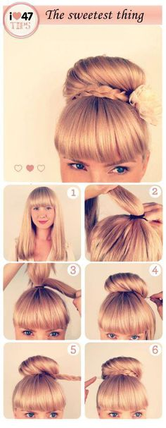 Cute Bun (L)   # hairstyles tutorial #hairstyle DIY #bun