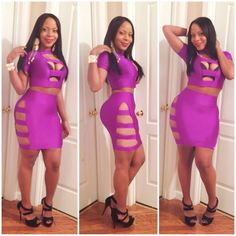 Women summer special occasion dress 2014 New short sleeves hollow out purple Casual Bandage Dresses 2 Pieces Set Clothing Suit  $13.99