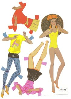 1986.  Barbie ROCKERS Paper Doll Book.  A Golden Book.  DEE DEE paper doll with three outfits.  - Mostly Paper Dolls Too - black / African / person of color Paper Doll Book