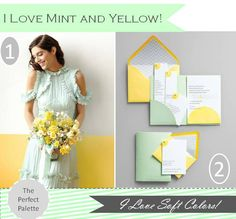 If I were to have a spring wedding it would so be yellow and mint...
