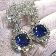 @mm_diamondsjewellers. Superlative sapphire and diamond earrings. Most precious jewel. Astonishing colour.