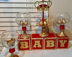 NEW Red And Gold Baby Shower CROWN Centerpiece Bundle/ Boys Red And Gold  Prince Baby