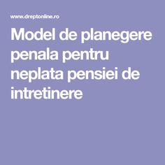 Model de planegere penala pentru neplata pensiei de intretinere