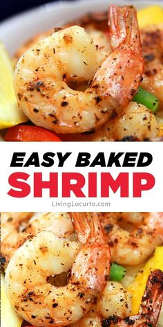 delicious baked shrimp with lemon, garlic and butter is a a quick and easy oven-roasted shrimp recipe for dinner or a party.This delicious baked shrimp with lemon, garlic and butter is a a quick and easy oven-roasted shrimp recipe for dinner or a party. Baked Shrimp Recipes, Shrimp Recipes For Dinner, Fish Recipes, Seafood Recipes, Cooking Recipes, Oven Recipes, Baked Dinner Recipes, Vegetarian Cooking, Easy Cooking
