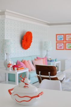 House of Turquoise - aqua, orange, pink and white makes for fun and fresh and bright! :)