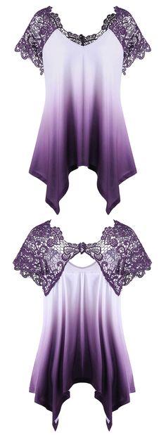 Plus Size Lace Trim Ombre Asymmetric T-Shirt