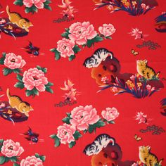 Red Oriental fabric / Red Chinese fabric / Cats by TheFabricHippie, $14.00