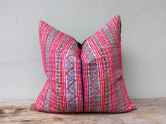 """Vintage Cotton Tribal Hand Print Patch Work Pillow Case 20"""" x 20"""" Pieces Of Retro Tribal Costume on Etsy, ฿1,700.68"""
