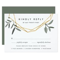 Olive Leaf RSVP Card with Entree Choices - invitations custom unique diy personalize occasions