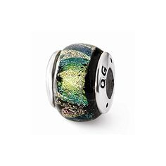 Sterling Silver Reflections Green Dichroic Glass Bead *** Be sure to check out this awesome product.