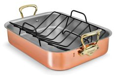 Mauviel Copper Roasting Pan with Rack (Bronze Handles) >>> Hurry! Check out this great product : Roasting Pans