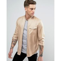 Another Influence Zip Through Bomber Shirt Jacket ($32) ❤ liked on Polyvore featuring men's fashion, men's clothing, men's outerwear, men's jackets, beige, mens zip up jackets, mens zipper jacket, mens beige jacket, mens bomber jacket and tall mens jackets