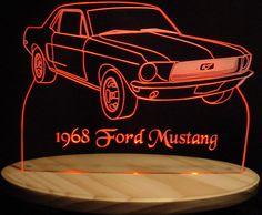 1968 Mustang Acrylic Lighted Edge Lit LED Sign 13 Full