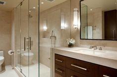 Sleek, contemporary bathroom.