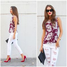 "Clara Alonso Blog, REDS Camiseta de Zara con efecto ""botellín de Coca-Cola"" y fruncido en el escote. Jeans de Mango, stilettos de Barneys New York, cartera de Zara, reloj de Massimo Dutti, pulseras y anillo de Gemmasu Jewels y gafas de Celine para Sáfilo Clara Alonso Hair, Red Stilettos, Celine, 2015 Hairstyles, Blue Jean Shorts, Soft Summer, Office Fashion, Work Wardrobe, Work Casual"