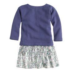 J.Crew girls' sequin-skirt sweatshirt dress in oxidized purple.