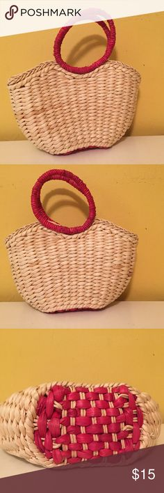 """Small straw bag Small straw bag. Super cute with a sundress. 11"""" wide by 6 inches deep. Bags"""