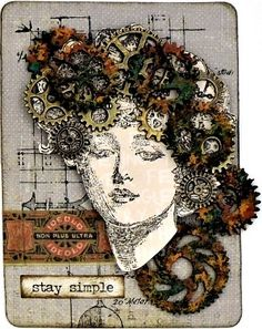 Get inspired with this beautiful steampunk card created using products from Graphic 45.