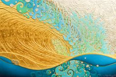 Kaihalulu gold painting (surf art) by Troy Carney Water Artists, Hawaiian Art, Sea Glass Art, Stained Glass, Surf Art, Gold Paint, Sculpture Art, Fine Art America, Art Gallery