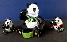 LYNN CHASE JUNGLE PARTY PANDA TEA LIGHT HOLDER + PANDA SALT & PEPPER SHAKERS