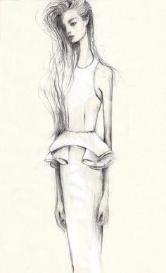 Fashion illustration - feminine fashion drawing, peplum dress sketch // Pippa McManus for Manning Cartell