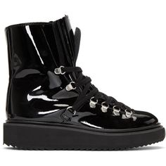 ba78285ce380cf Kenzo Black Patent Alaska Boots (84 KWD) ❤ liked on Polyvore featuring  shoes