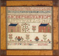 """Realized Price: $ 4503    Pennsylvania wool on linen needlework sampler, wrought by Catherine MacIntyre 1831, Hilltown, with houses, an alphabet, potted flowers, and birds, retaining a bird's-eye maple frame with carved corner blocks, 16"""" x 17"""". Provenance: J. David Miller collection."""