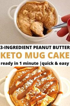 Looking for easy 3 ingredient keto recipes? Try this 3 ingredient keto mug cake with peanut butte. It�s one of the best keto desserts 3 ingredient recipe you will try! Keto Desserts To Buy, Single Serve Desserts, Keto Dessert Easy, Easy Desserts, Mug Recipes, Low Carb Recipes, Cake Recipes, Dessert Recipes, Dessert Ideas