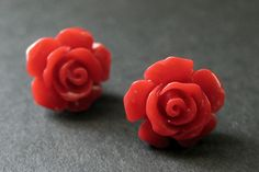 New to StumblingOnSainthood on Etsy: Rose Red Flower Earrings. Red Earrings. Gardenia Flower Earrings. Bronze Stud Earrings. Rose Earrings. Handmade Earrings. Handmade Jewelry. (10.00 USD)