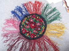 Round silk embroidered doily Multi-color fringe Matyo Vintage floral 25"