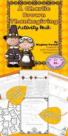 Charlie Brown Thanksgiving Activities comes with 11 reading and writing activities to go with the holiday classic, A Charlie Brown Thanksgiving. Thanksgiving Classroom Activities, Thanksgiving Worksheets, Classroom Ideas, Charlie Brown Thanksgiving, Peanuts Thanksgiving, Thanksgiving Holiday, Charlie Brown Movie, Writing Activities, Fun Activities