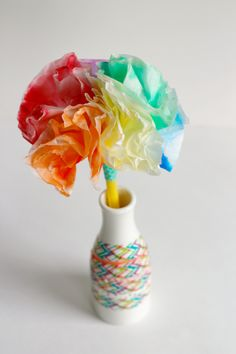 Coffee Filter Flower Bouquet Kids Craft