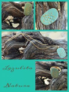 Colección de Joyería, Naturade Lazulita. Hechas a mano e inspiradas en la naturaleza de nuestras Islas, utilizando plata, oro, cobre combinados con esmaltados azules, turquesas y verdes esmeraldas.  #Tribal #Etno #Natura #Joyería
