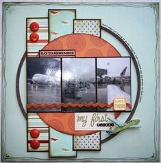 3 photos scrapbook layout - the journaling around the edge of the circle is a nice touch! and the 3 kinds of paper overlapping behind the pics. Travel Scrapbook Pages, Vacation Scrapbook, Scrapbook Paper Crafts, Scrapbook Cards, Disney Scrapbook, Scrapbook Sketches, Scrapbook Page Layouts, Scrapbooking Photo, Creative Memories
