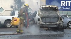 A man survives a car fire in Bakersfield.