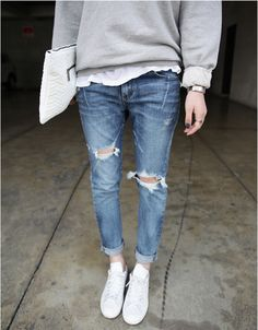 grey sweater, white tee, jeans, white sneakers
