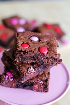 """GO MAKE THESE NOW!!! I just made them and they are DELISH!!! """"The Best Ever M&M Brownies. Happy Valentine's Day!!"""""""