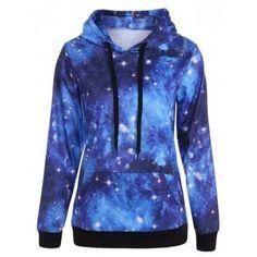 Plus Size Kangaroo Pocket Galaxy Hoodie - Print Winter Galaxy Hoodie, Plus Size Hoodies, Plus Size Tops, Pullover Hoodie, Hoodie Sweatshirts, Blue Hoodie, Sweatshirts Online, Long Hoodie, Galaxy Print