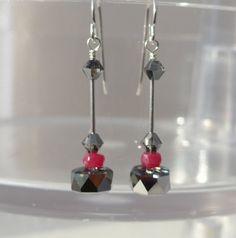 Swarovski Ruby Earrings, Dangling Swarovski Earrings, Whimsical Swarovski Earrings, Swarovski Modern Earrings by ThreeMagicGenies on Etsy