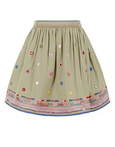 Our Aloki cotton skirt for girls is decorated with mirrorwork embellishments, and embroidered patterns and sequins across the hemline. This piece is fully lined, and features an elasticated waistband for a comfortable fit. Skirts For Kids, Cotton Skirt, Free Clothes, Monsoon, Little Princess, Hemline, Cute Babies, Embellishments, Girls Dresses