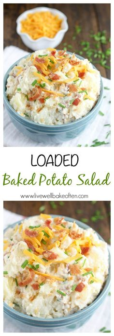 Loaded Baked Potato Salad - A fun spin on classic potato salad, this loaded baked potato salad is a perfect side dish to bring along to any party! Live Well, Bake Often Potato Dishes, Potato Recipes, Side Dish Recipes, Dinner Recipes, Appetizer Recipes, Dinner Ideas, Bbq Potatoes, Funeral Potatoes, Skillet Potatoes