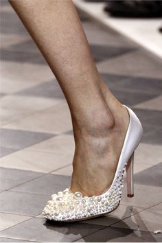 pearl embellished pumps from Giambattista Valli's debut Haute Couture collection