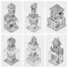 Heres a brilliant set of axonometric #penandink #architecture drawings by Rob Turpin (@thisnorthernboy). Rob dubbed this series of illustrations After the flood as they all depict buildings structures and land areas that have been severely inundated by water.  I love how they are all visually similar having been drawn in Robs distinct artistic style but the details of certain elements were drawn differently in each.  The waves and water ripples are all different likely due to the fact that…
