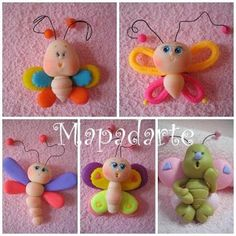 Clay for kids Cute Polymer Clay, Polymer Clay Animals, Cute Clay, Polymer Clay Projects, Rock Crafts, Diy And Crafts, Clay Keychain, Clay Magnets, Clay Baby