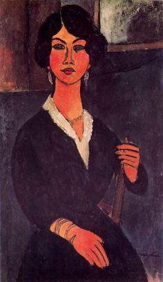 'Sitzende algerischen Almaiisa', öl auf leinwand von Amedeo Modigliani (1884-1920, Italy)