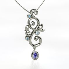 subtle mothers jewelry (Pear Tanzanite Sterling Silver Necklace with Blue Topaz & Aquamarine)