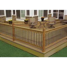 Wood Deck Railing, Deck Railing Design, Backyard Patio Designs, Railing Ideas, Wood Deck Designs, Backyard Decks, Back Deck Designs, Landscaping Around Deck, Porch Railings