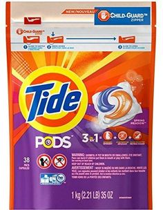Tide Spring Meadow 3 in 1 Detergent Stain Remover Color Safe Pods 38 Capsules With Child Guard Zipper