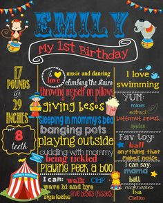 Hey, I found this really awesome Etsy listing at https://www.etsy.com/listing/201020906/first-birthday-chalkboard-circus-theme