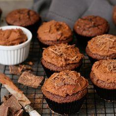 Dark Chocolate Cupcakes with Whipped Whiskey Ganache
